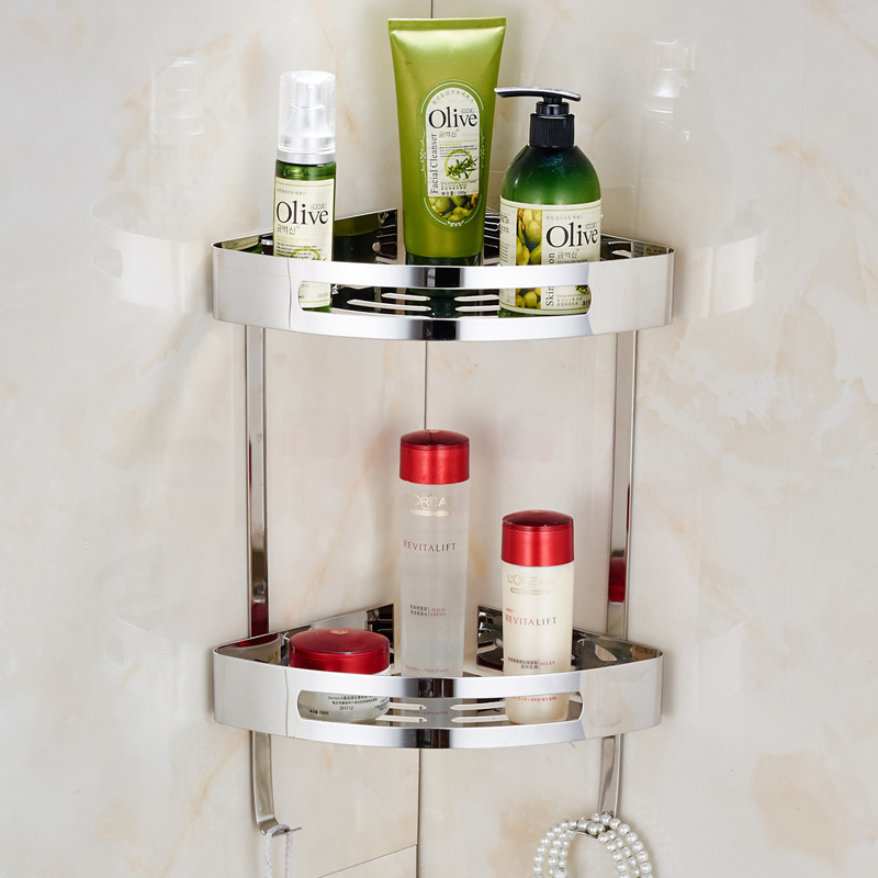 ecke regal mit handtuchhaken badezimmer dusche korb k che veranstalter halter bohrer freies. Black Bedroom Furniture Sets. Home Design Ideas