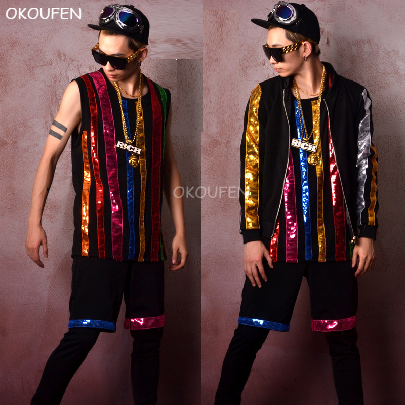 New Fashion Men s Colorful Sequins Vest set nightclub bar singer DJ DS show stage costumes