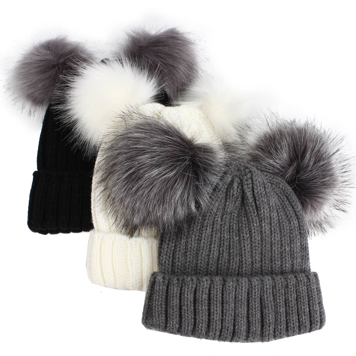 82cbc362 Furry Hat With Double Pompom Women Winter Warm Knitted Wool Cotton Hats  Bobble Gorros Beanies Bonnet Ear Warmer Female Ski Cap-in Skullies &  Beanies from ...