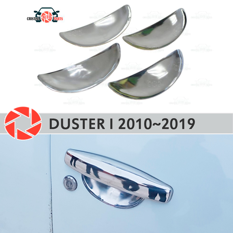 Under door handle covers for Renault Duster 2010 ~ 2019 stainless steel plate car styling decoration accessories molding stainless steel home security door stop alarm 3 x lr44