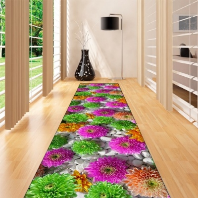 Else Gray Stones Purple Green Orange Flower 3d Print Non Slip Microfiber Washable Long Runner Mat Floor Mat Rugs Hallway Carpets