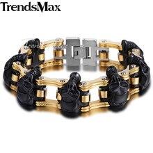 Trendsmax 22 см Для мужчин браслет 316L Нержавеющаясталь Байкерский браслет черепа Мотоциклетная цепь Панк ювелирные изделия hbm66