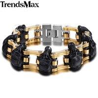 Trendsmax 22cm Cool Bracelet For Men 316L Stainless Steel Bracelet Skulls Biker Bicycle Link Chain Men Jewelry Fashion HBM66