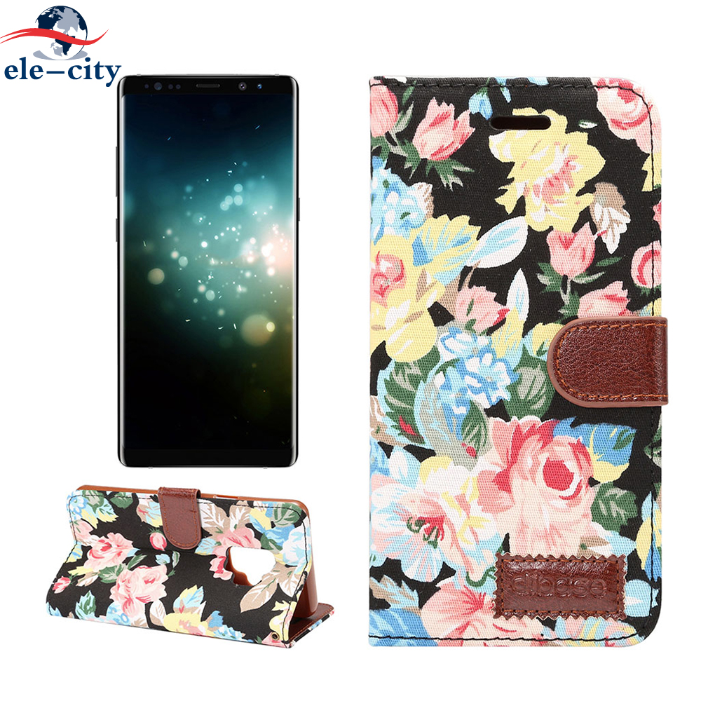ele-city Leather Card Holder Stand Magnetic Snap Phone Cover Flip case Flower Cotton Leather Case for Samsung Galaxy S9 S9 Plus