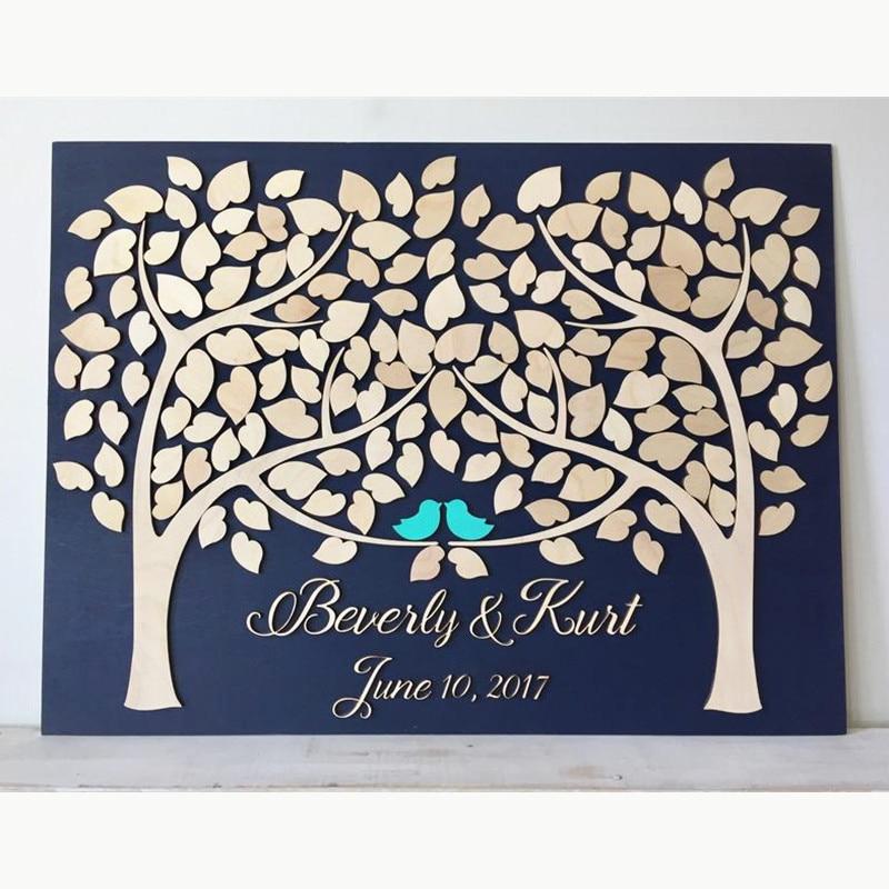 Livre d'or de mariage personnalisé livre d'invité en bois alternatif arbre de coeur deux arbres poussent en un décor de mariage livre d'or rustique