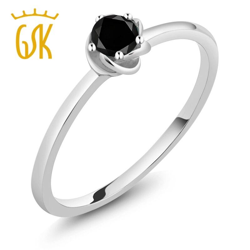 5df9bb6f625b7 10 K Ouro Branco 0.17 Ct Rodada Solitaire Anel de Noivado de Diamante Negro