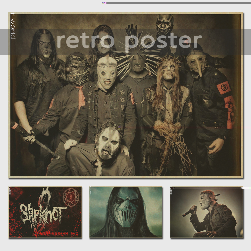 Slipknot Music bar cafe decoration Vintage Style Retro Paper Poster wall sticker home decor