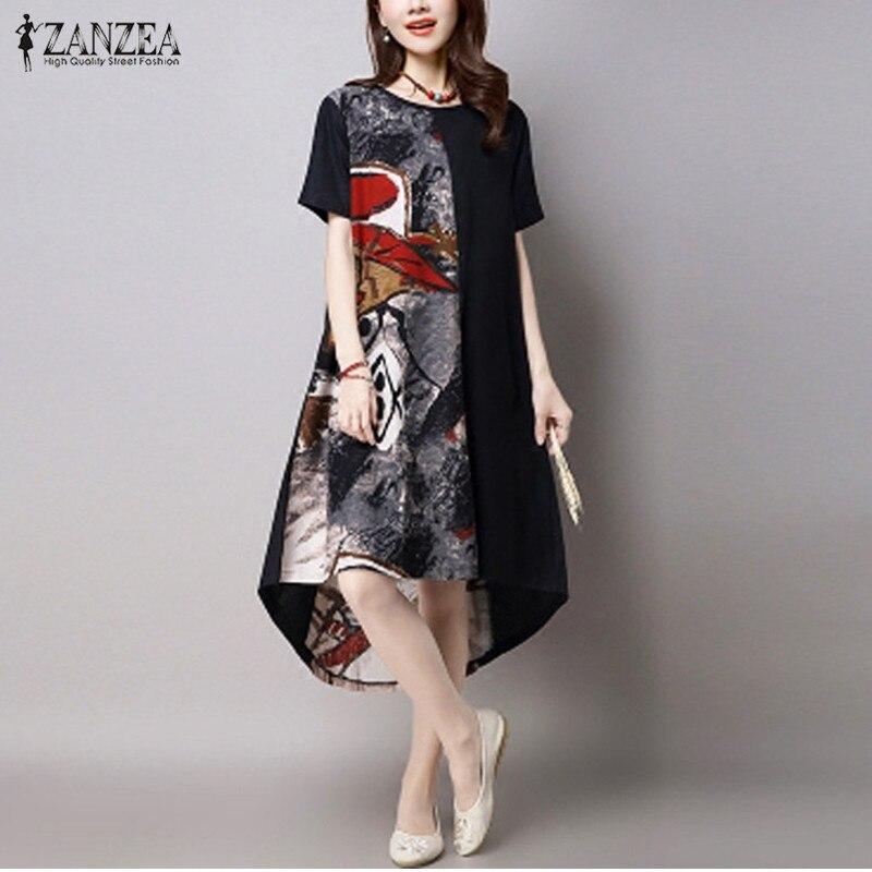 Kraftvoll Plus Größe Frauen Kleid 2019 Zanzea Sommer Vintage Print Kleid Lässig Lose O Hals Kurzarm Unregelmäßige Hem Vestidos Übergroßen Herrenbekleidung & Zubehör