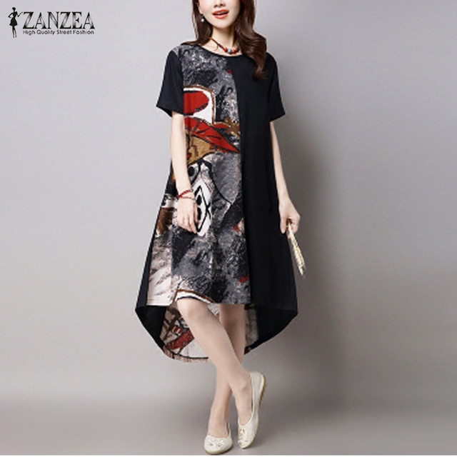 188ba6f95585e Plus Size Women Dress 2018 ZANZEA Summer Vintage Print Dress Casual Loose O  Neck Short Sleeve Irregular Hem Vestidos Oversized