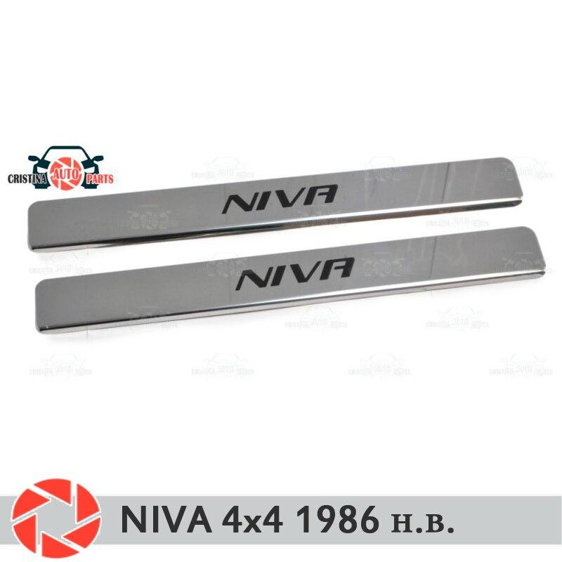 Soleiras de porta para Lada Niva 4x4 1986-2018 proteção guarnição scuff placa passo interior car styling decoração letras pretas versão curta