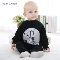 Spring and Summer Baby Clothes Cotton To the Moon Letter Printted Open Files One Piece Jumpsuit Newborn Children Climb Clothing