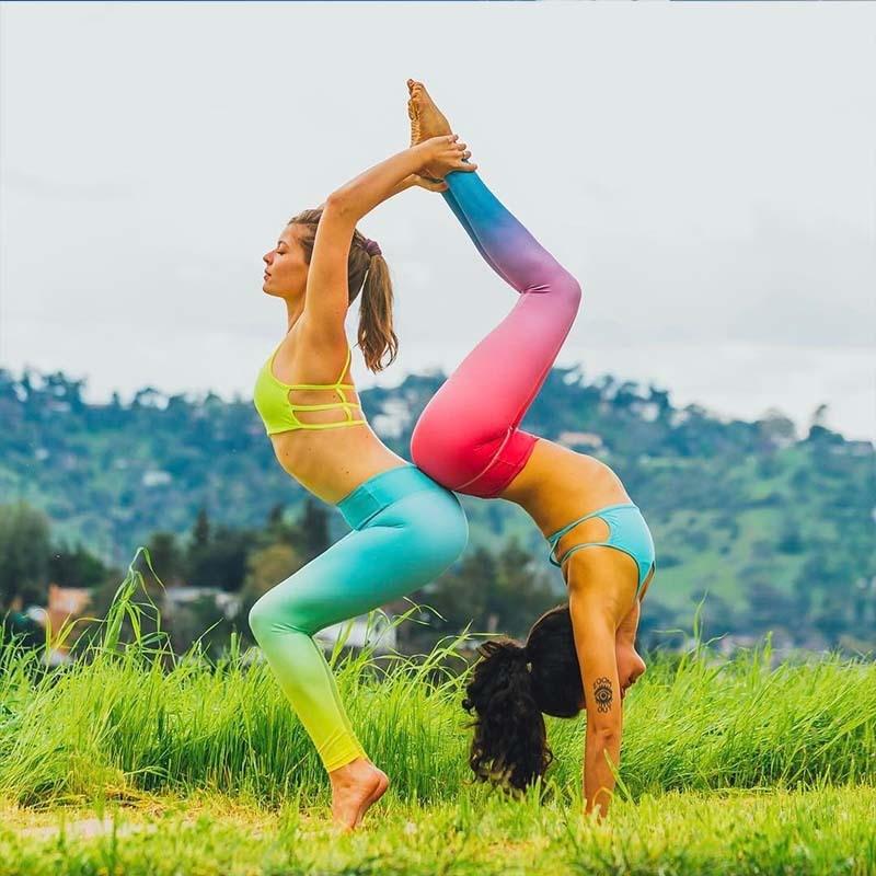 2017 New Women Ballerin Yoga Pants Sport Gradient Color Exercise Fitness Cross Pants High Waist Ballet Bandages Dance Yoga Pants