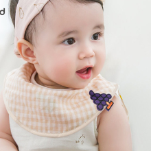 Baby waterproof fashion  anti-dirty comfortable tender care infant drool printed 100% pure cotton bibs on sale 8802