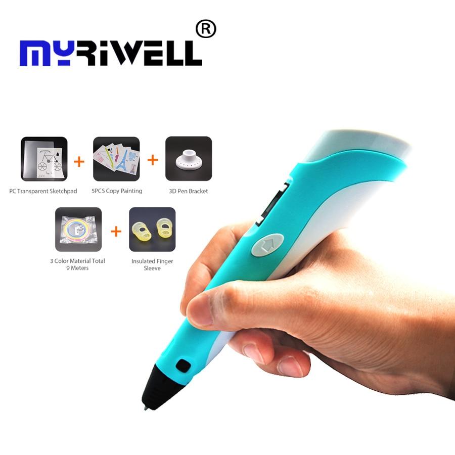 3D pluma más 3D pluma de dibujo con pantalla LCD y Doodle hacer modelo artes y artesanías de dibujo con 3 x 1,75mm Material de ABS y de