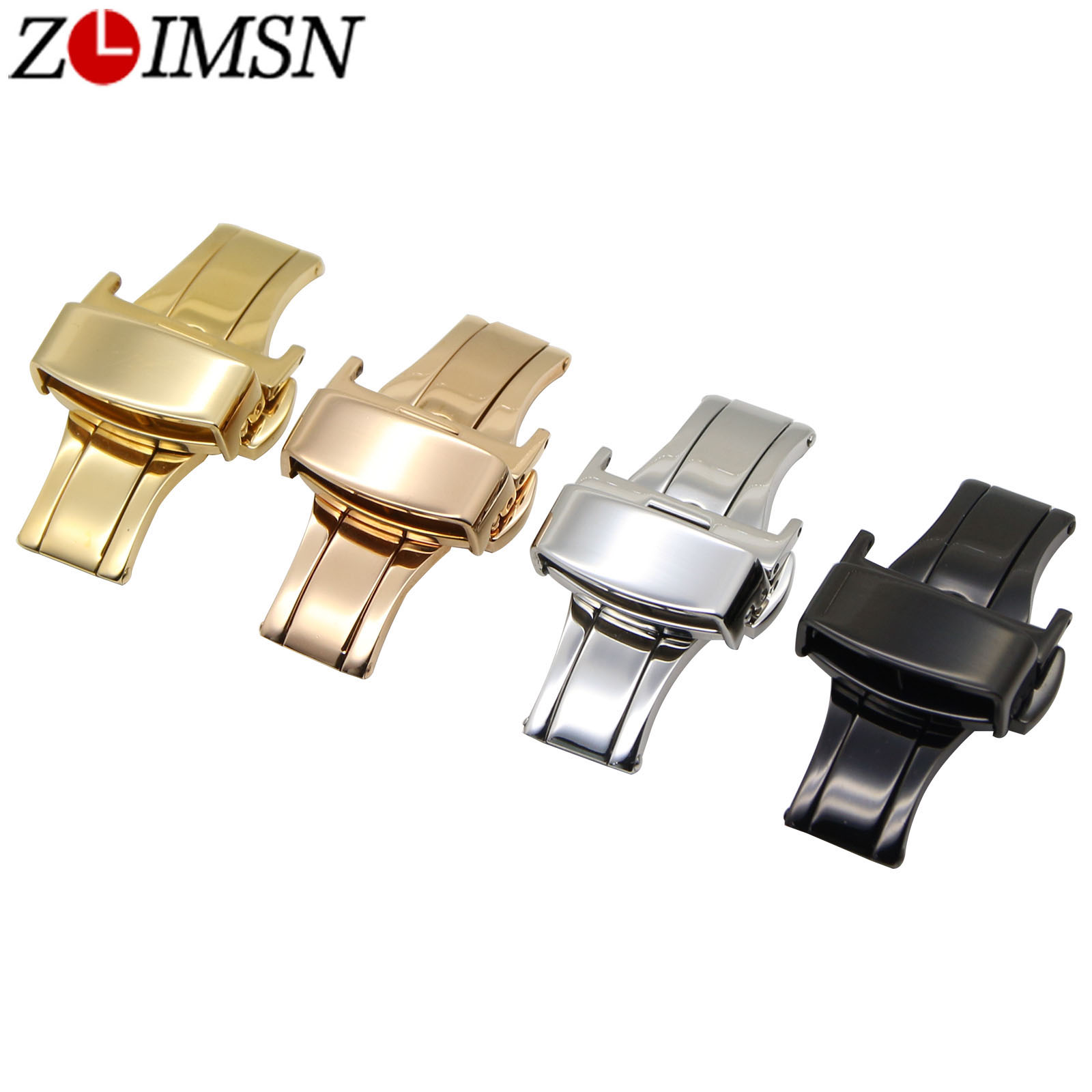 ZLIMSN 316L Stainless Steel Double Watchbands Push Button Butterfly Deployment Clasp Watch Bands Replacement Relojes Hombre 2017 zlimsn 20mm double push button deployment clasp silver gold black rose gold stainless steel watch metal buckle relojes hombre