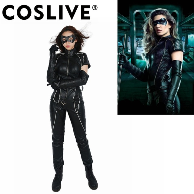 Coslive Arrow Season 6 Black Canary Cosplay Costume Cool Full Set Pu Leather Costumes