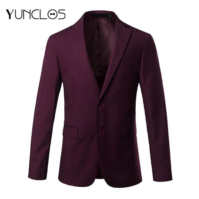 YUNCLOS 2019 New Slim Fit Men's Suit Blazer Solid Color Gray Red Suit Jacket High Quality Casual Male Blazer Prom Blazers