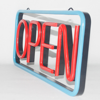 High brightness & fashion LED neon open sign with 2 metal hooks & 0.6m chain