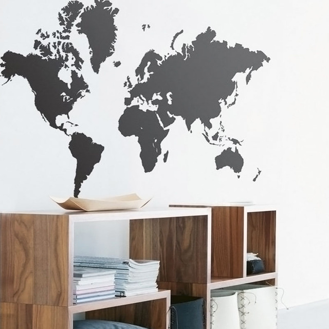 New World Map Wall Decals DIY Vinyl Art Mural Living Room Decoration Map Of World  Wall