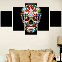 Canvas Wall Art Pictures Framework Home Decor Room Poster 5 Piece Psychedelic Rose Flower Skull Painting Cross HD Printed