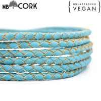 5mm Braided light blue round cork cord Portuguese cork Jewelry supplies Findings cord vegan Cork Cord COR-381