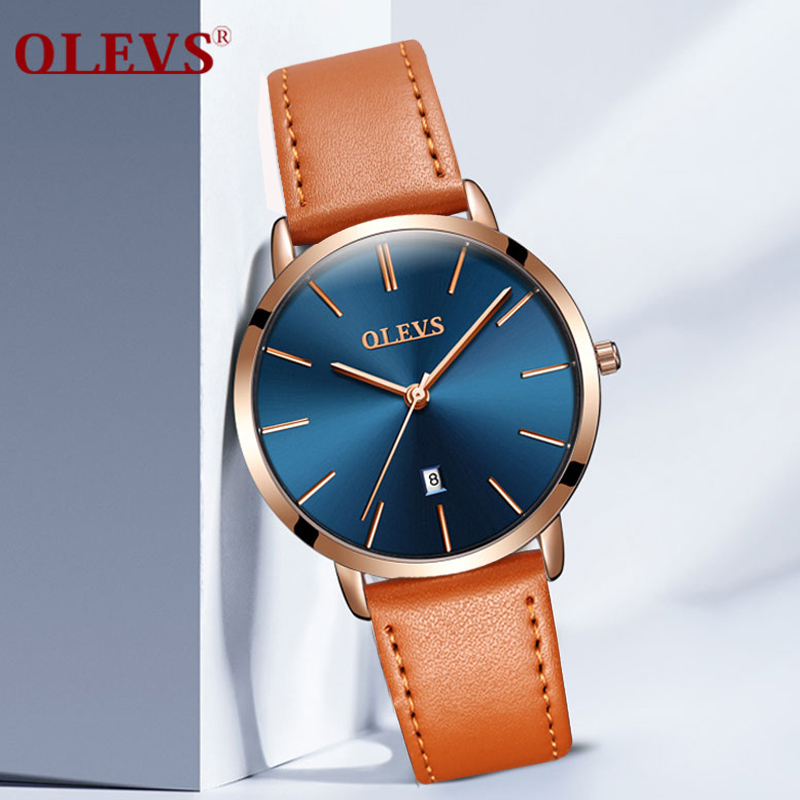 Genuine Watches OLEVS Luxury Women Rose Gold Watch Casual Quartz Ladies Watch Leather Wristwatch Waterproof Clock Relojes Mujer kimio brand bracelet watches women reloj mujer luxury rose gold business casual ladies digital dial clock quartz wristwatch hot