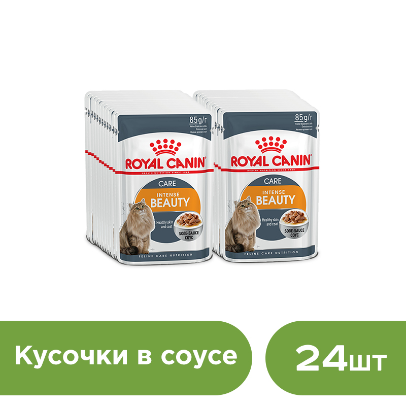 Cat wet food Royal Canin Intense Beauty slices in sauce (0.085 kg*24 pieces) kittens food royal canin british shorthair kitten 10 kg cat wet food royal canin intense beauty pieces in jelly 24 85 g