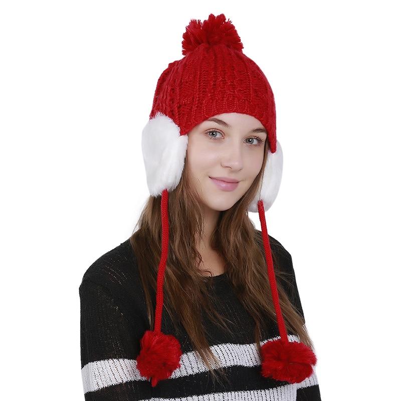 Womens Knitting Hats Sweet Earflap Beanie Pompom Decor Girls Crochet Stretchy Winter Warm Cap Skullies