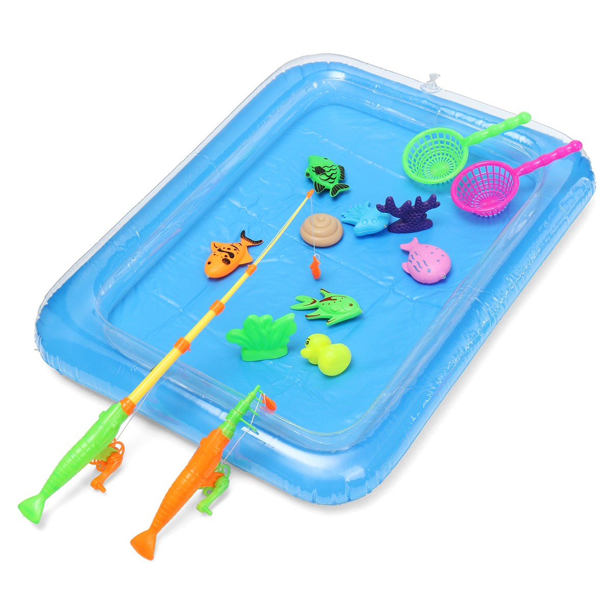 39pcs/Set New Fish Inflated Pond Game Magnetic Fishing Pole Rod 3D ...