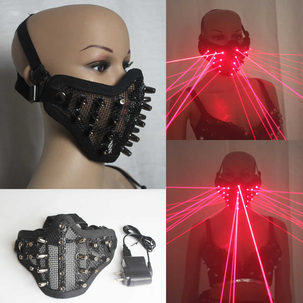 Laser Merah Masker Cahaya Pesta Masker Neon Maska Cosplay Mascara Horor Mascarillas Glow In Gelap Masker V