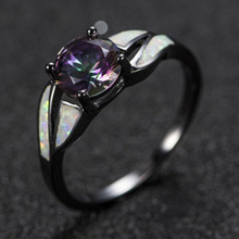 Hot Sale Fashion Jewelry Unique Party Natural Stone Ring Black Rainbow Rings For Women