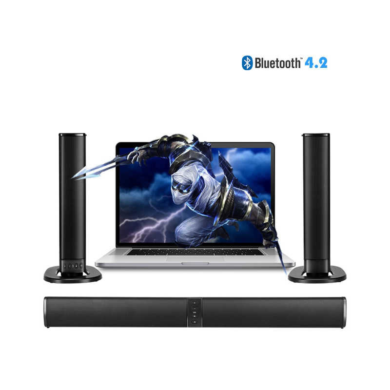 Home Theater 20W Bluetooth Soundbar TV AUX Optik Bluetooth Soundbar Speaker Kolom Soundbar dengan Subwoofer Speaker untuk TV
