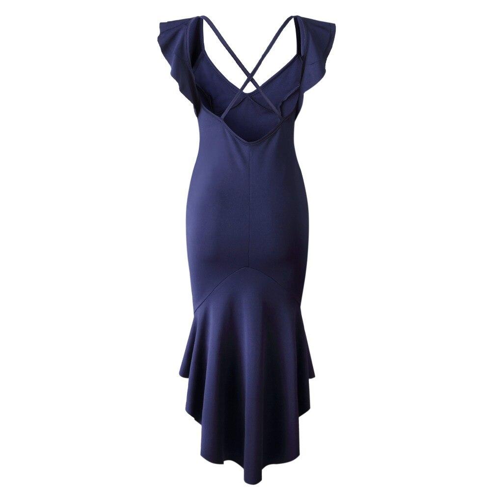 Elegant Ruffle Lotus Leaf Sleeves Irregular Deep V Neck Dress Backless Fishtail Party Dress in Dresses from Women 39 s Clothing