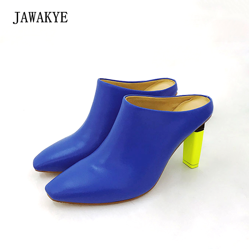 JAWAKYE cover toe High heeled Slippers Mules Shoes Woman Fluorescent green yellow lighter heel Outside party leather Half Slides цены