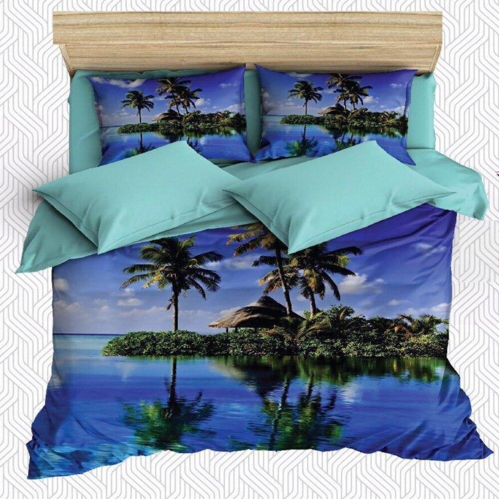 Ev ve Bahçe'ten Nevresim'de Başka bir 6 Adet Mavi Deniz Tropik Ada Palmiye Ağaçları 3D Baskı pamuk saten Çift nevresim Seti Yastık Kılıfı yatak çarşafı title=