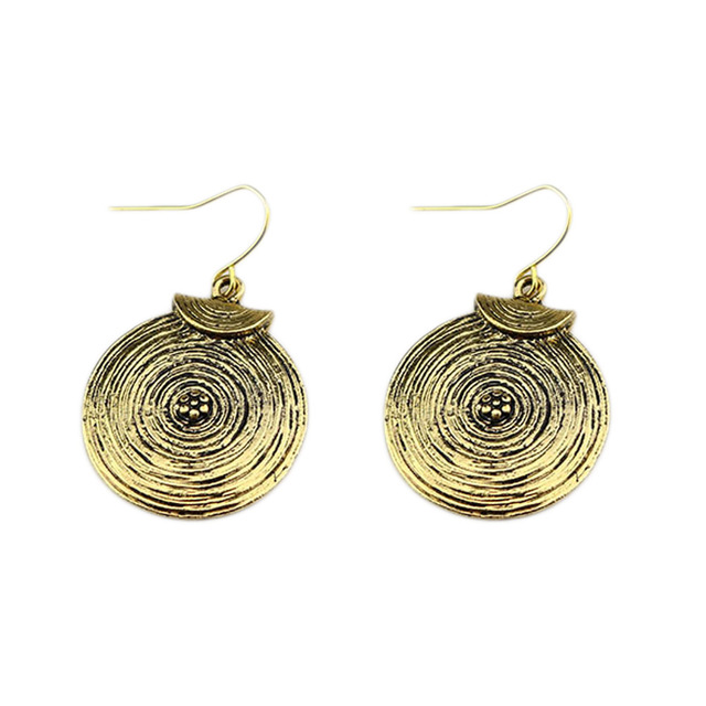 2017 Vintage Silver Plated Bohemian Earrings Carved Round Corrugated Earrings Female Ethnic Long Hanging Earring