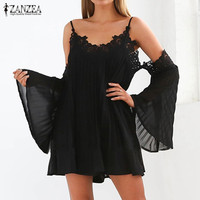 Newest 2017 ZANZEA Women Summer Dress Sexy Off Shoulder Lace Crochet Mini Dress V Neck Flare