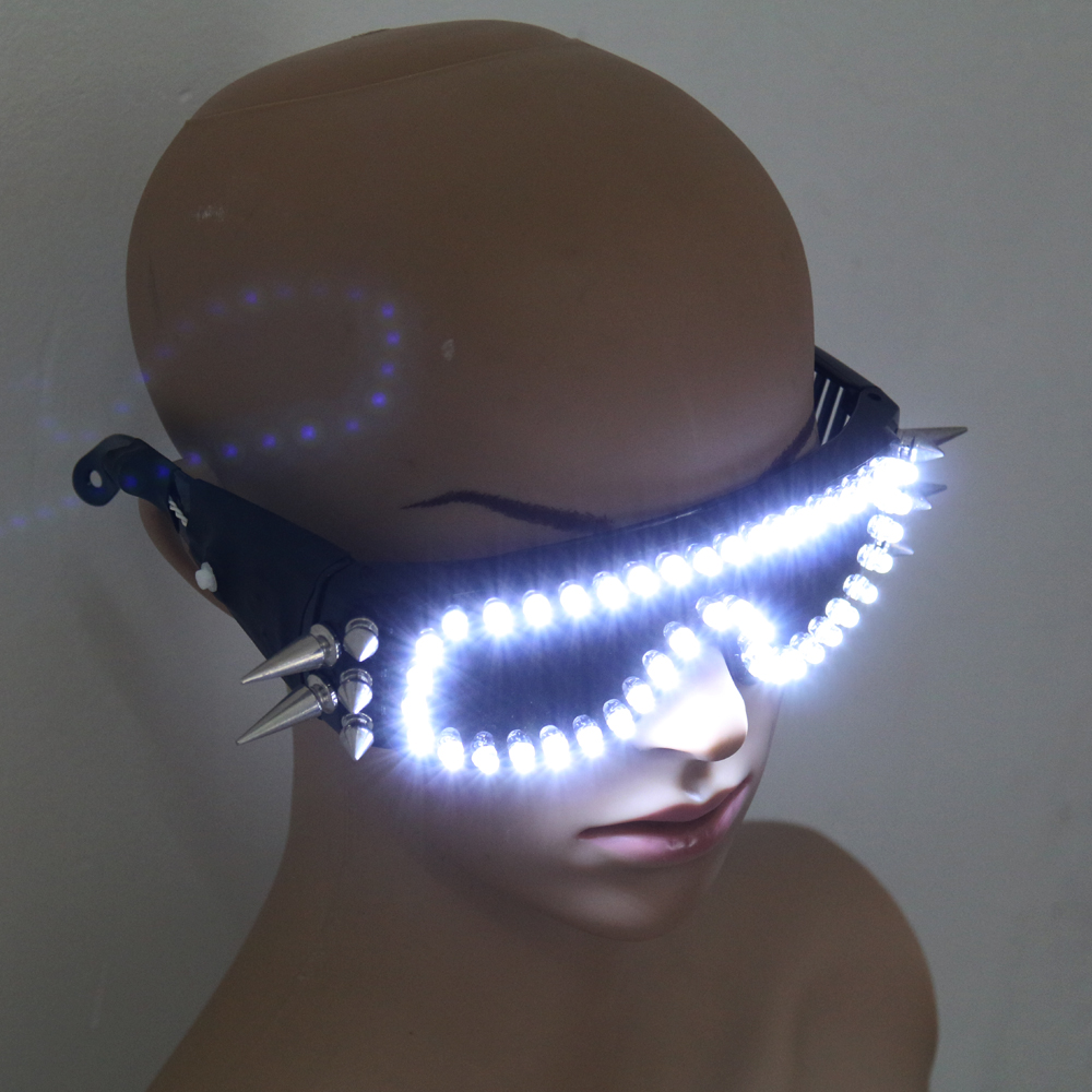 6 Color Burst Flashing LED Glow Glasses LED Glasses Rivet Punk Glasses Laser Glasses For Chirstmas