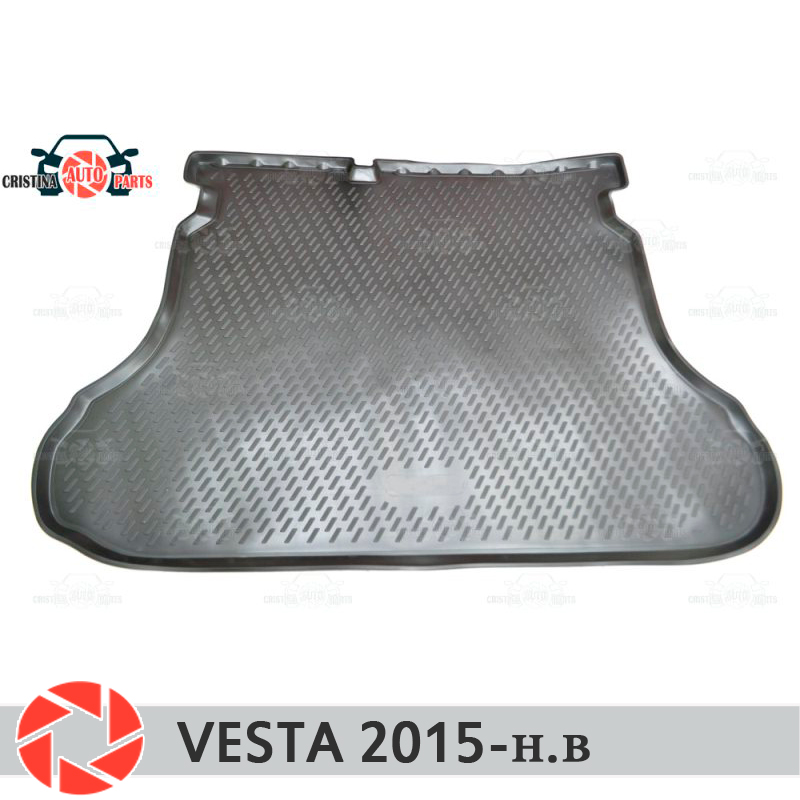 For Lada Vesta SD / SW / SW CROSS 2015- trunk mat floor rugs non slip polyurethane dirt protection interior trunk car styling