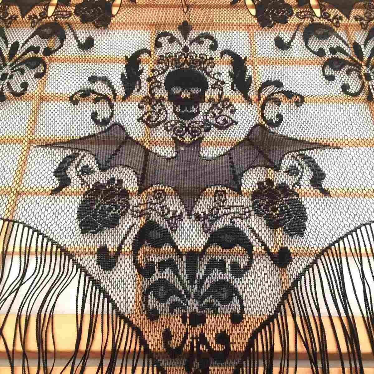 black gothic lace tassel skull bat valance tulle topper shawl fabric tablecloth halloween haunted house party - Halloween Lace Fabric