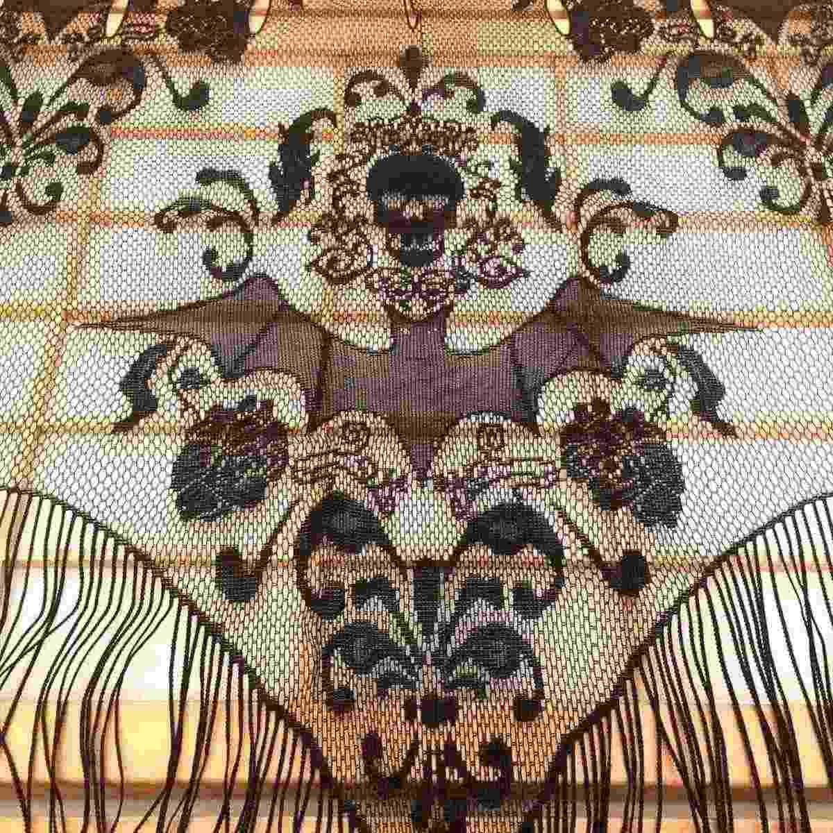ฮาโลวีนกอธิคผ้าลูกไม้สีดำพู่ม่านแขวนกะโหลกค้างคาวT Ulle T Opperผ้าคลุมไหล่ฮาโลวีนบ้านผีสิงพรรคผ้าม่านผ้าผ้าปูโต๊ะ