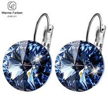fcf115e84195 WARME FARBEN pendiente para las mujeres con cristal de Swarovski piedra  redonda pendiente de plata 925 pendiente de plata de la .