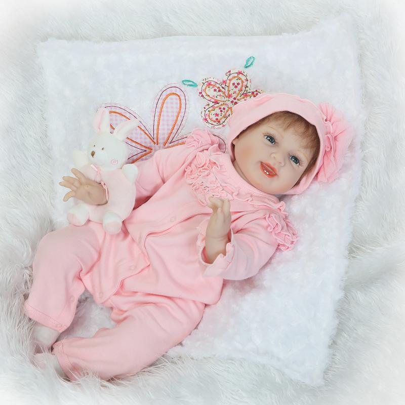 NPK 55cm reborn babies girl dolls with rabbit rattle child gift fashion silicone baby dolls bebe real reborn bonecas silver plated baby rattle keepsake set perfect gift idea