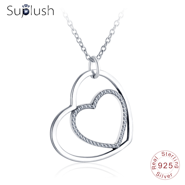 5a16a9df6 Suplush New Silver Double Heart Pendant Necklace For Lover Jewelry CZ Charms  925 Sterling Silver Necklaces