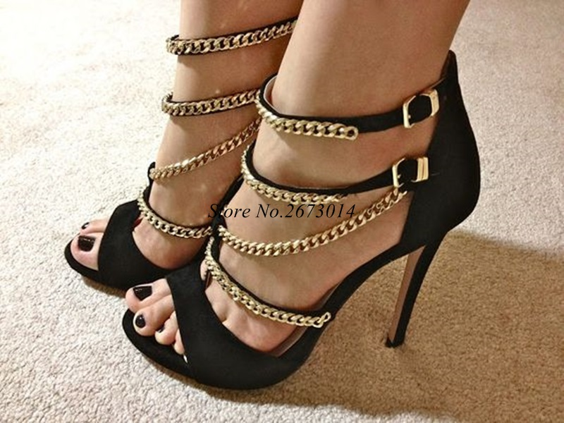 Gold Chain Sandals Women Open Toe Gladiator Sandals Women Shoes Cut out Back Zipper up High Heel Sandals Dress Shoes 2019 New in High Heels from Shoes