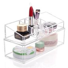 New Clear Multifunction Makeup Storage Box Lipstick Holder Nail Polish Rack Cotton Swab Case Women Cosmetic Organizer Box
