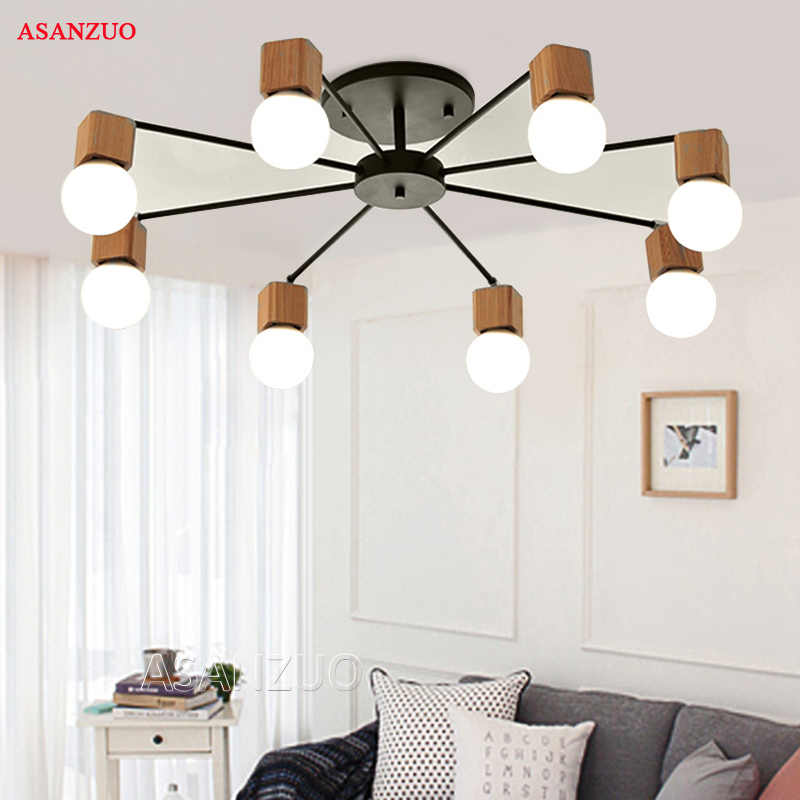 Nordic iron wood ceiling Light Modern home Living Room Bedroom aisle LED Ceiling Lamp Luminaire Lampara Techo