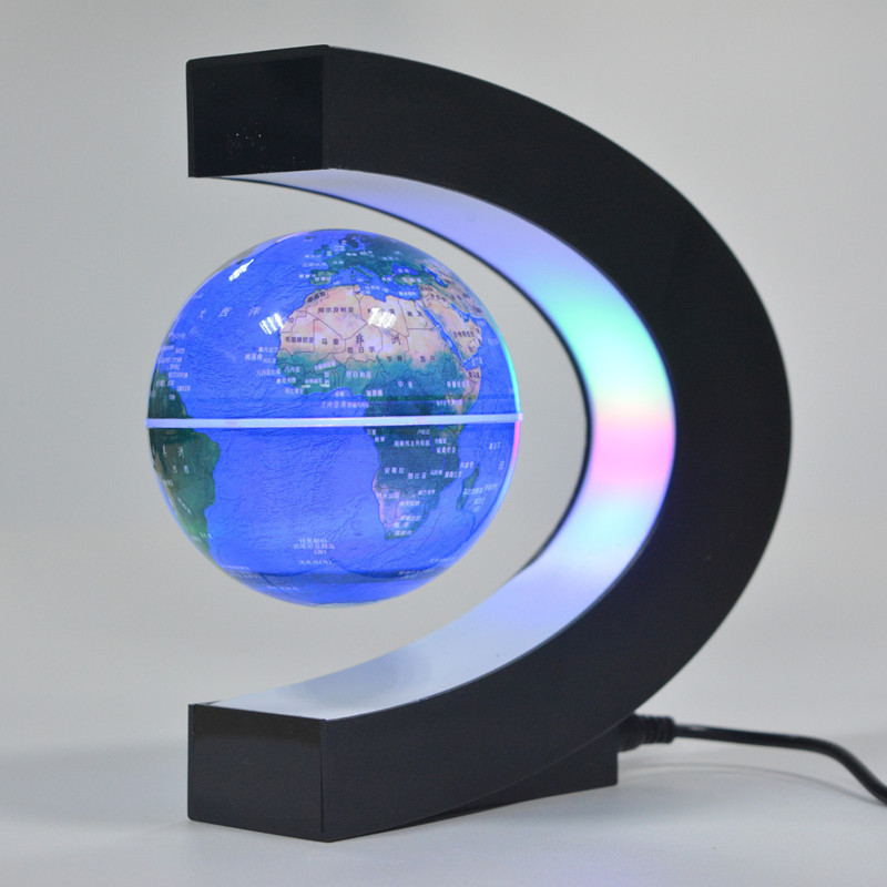 C shape Black Blue LED World Map Electronic Magnetic Levitation Floating Globe Antigravity LED Light Black Blue Drop Shipping