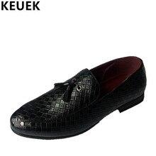 Los Hombres de moda de La Borla de zapatos de Vestir de Negocios Slip-On Mocasines Pisos Oxfords Brogue Zapatos de cuero Masculinos de Alta Calidad 022