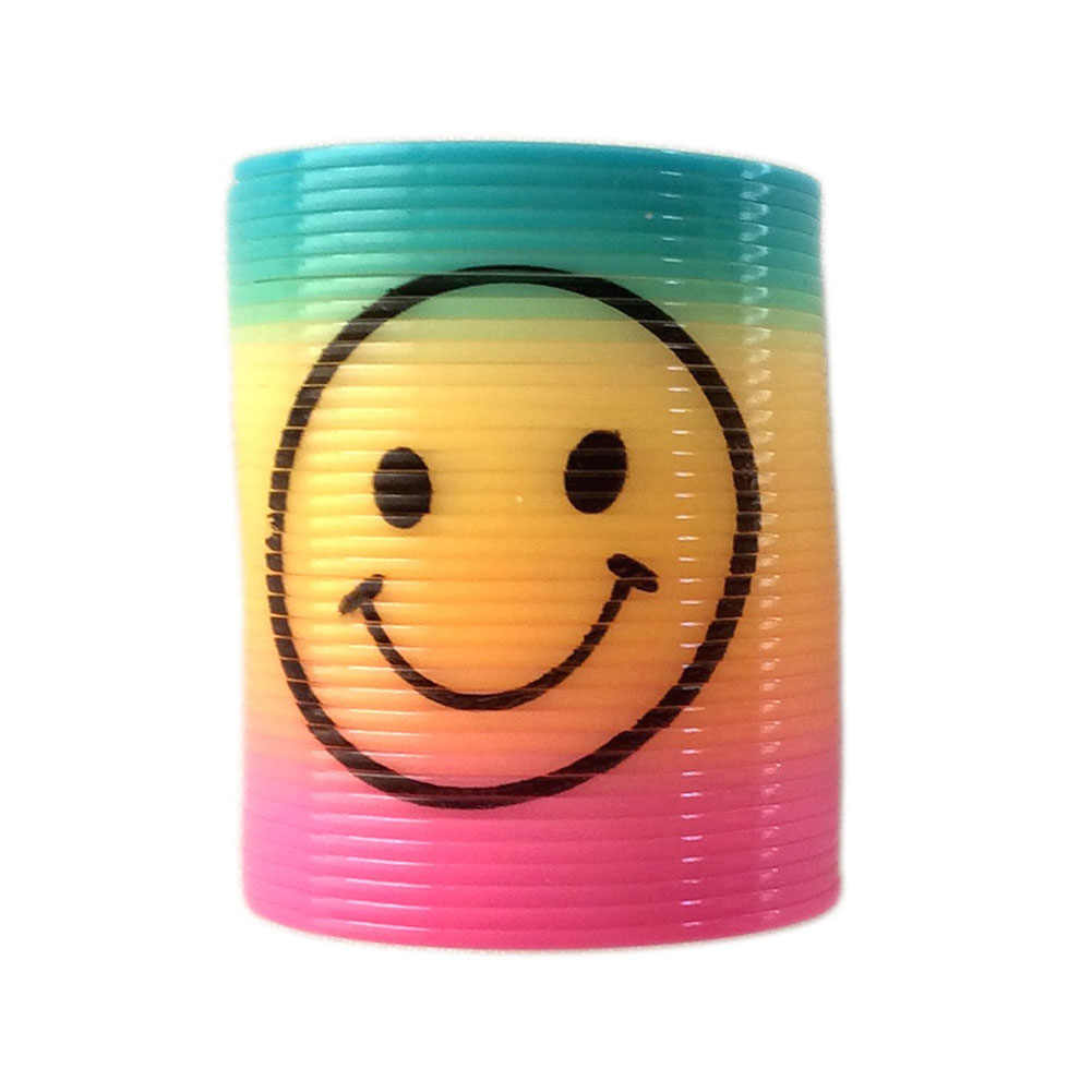 Color Random Smile Face  Protean Rainbow Circle Folding Plastic Spring Coil Children's Creative Magical Toys